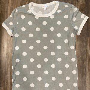 LulaRoe Gray Polka Dot Liv Shirt